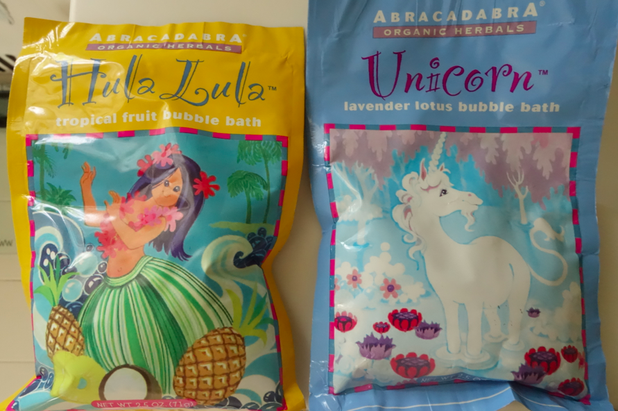 The kids love these bubble packets and they are made with essential oils and organic ingredients. They also make great gifts!