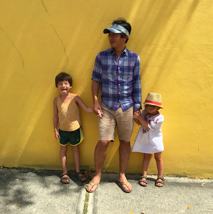 Hubby on the wall with the kiddos.