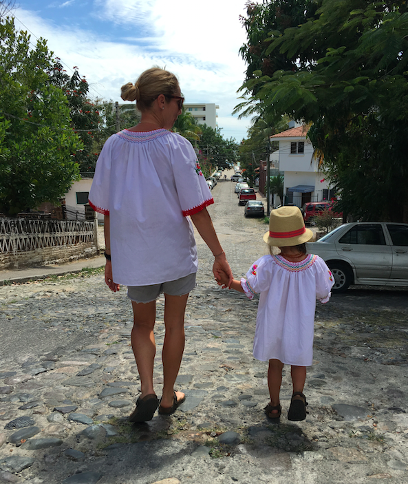 Mama and Toosh in our hungarian embroidered shirts.