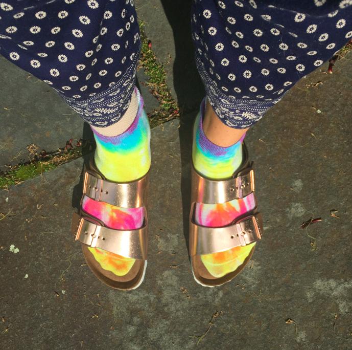 Tie dye socks!!!! With rose gold birkenstocks, #1 stylish feet in AMERICA.