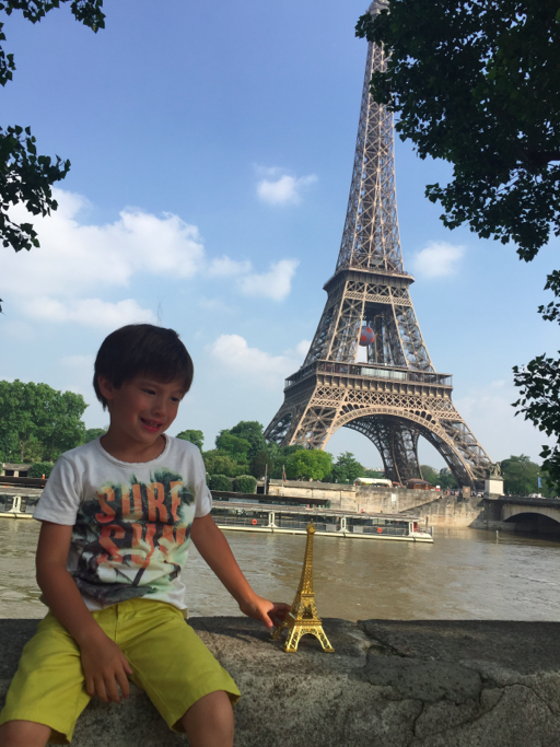 """And of course, we walked away with our first souvenir -- a big """"Made in China"""" Eiffel Tour that we bargained for."""