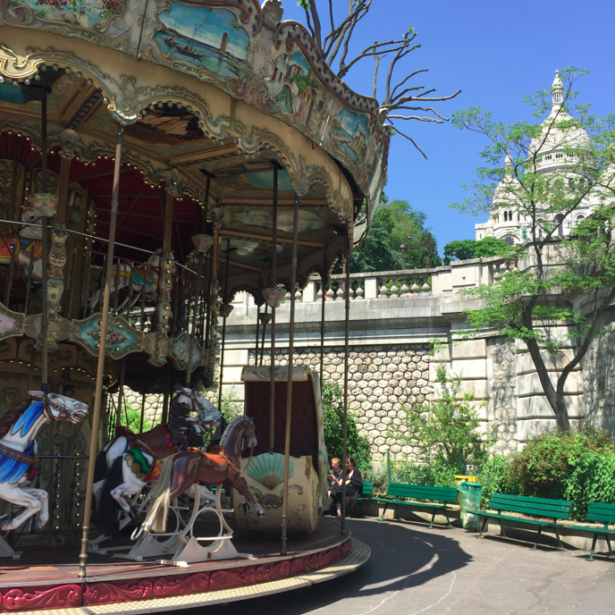 But of course, a pit stop at the carousel near the bottom of the fonicular of the Sacre Coeur.