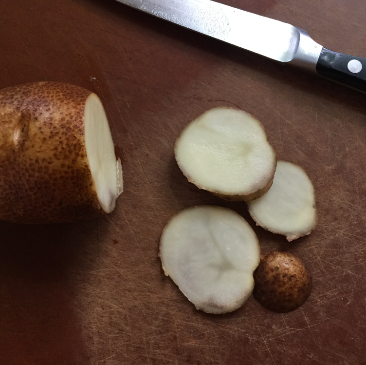 Simple slicing of the potato.