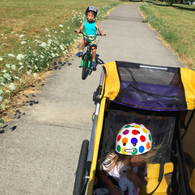 Our current bike ride set up includes Toosh in a trailer....we need to get her on a two wheel STAT.