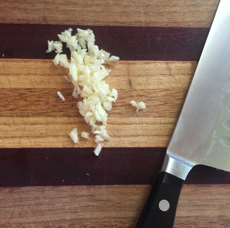 The hardest part of the recipe was mincing the garlic.
