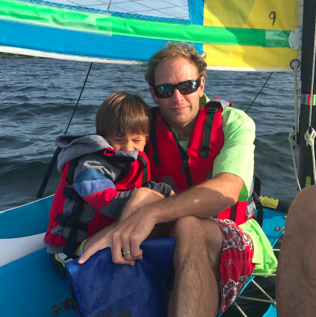 We went sailing in the evening on Lake Washington (pictured: son Cruzzie, brother Giora).
