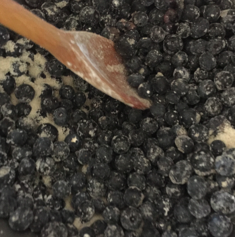 Blueberries with cornstarch and sugar.