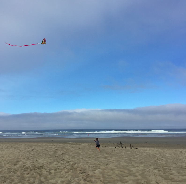 We spent a lot of time flying kites....at one point, Cruzzie spent AN HOUR (I timed him) flying it.