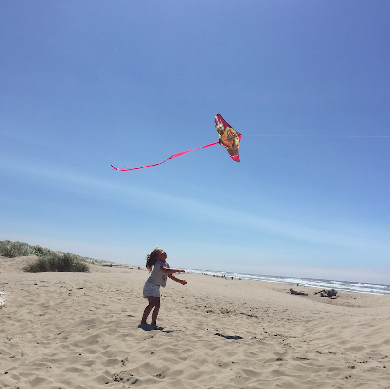 Jumping after the kite.