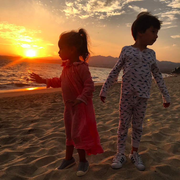 My kids almost exclusively wear Roberta Roller Rabbit pajamas. Here, in this sunset picture in Mexico, Cruzzie is wearing one of his many pairs.
