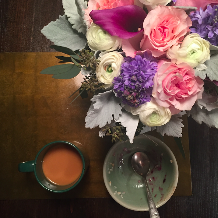 Breakfast. Oatmeal, coffee, and flowers (thanks Laura!)