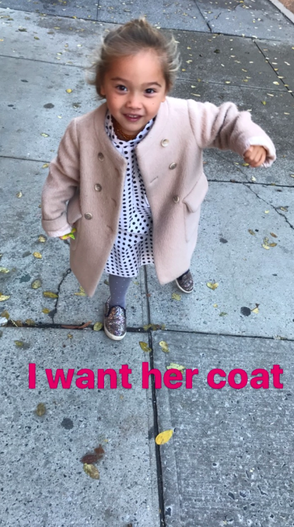 My little girl...who has the best coat.