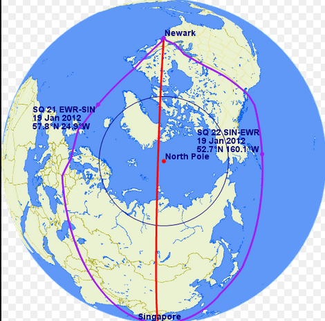 Not exactly our flight map, but we did go over the North Pole (ish) from JFK-HKG. It was strange taking off at 9 AM EST and having it be pitch black a few hours into the flight.