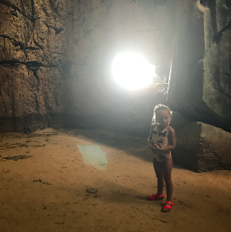 This is a photograph inside the cave -- the light shining is the entrance into the cave.