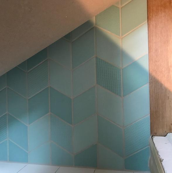 Tiles in kids bathroom.