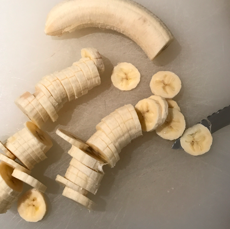 Slice the bananas. I decided to try for a thinner chip than a thicker one, but obviously slice them however thick you might want.