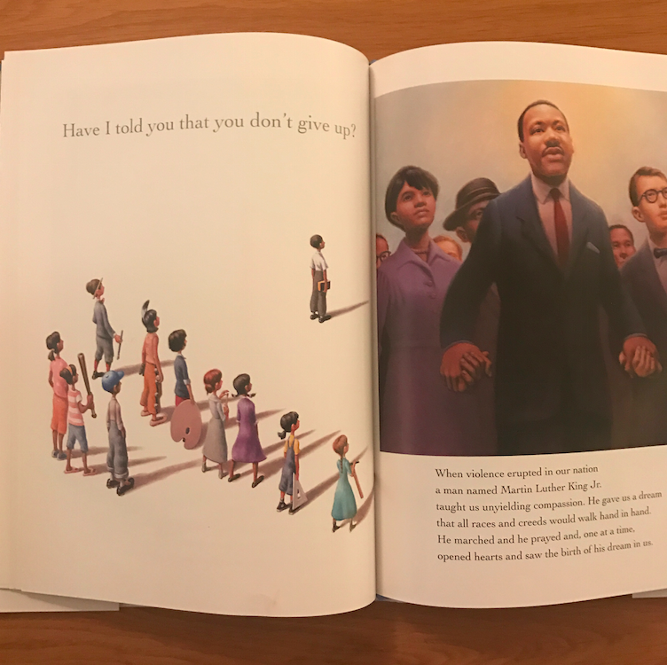 The book is a tribute to thirteen groundbreaking Americans and the ideals that shaped our nation. Examples are the artistry of Georgia O'Keeffe, to the courage of Jackie Robinson, to the patriotism of George Washington. Obama uses the characteristics of these heroes, to show how they exist within his own children and all children.