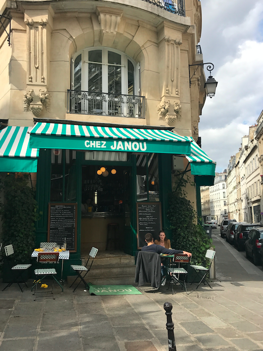 Monday lunch, we went to Chez Janou. It is classic french and both delicious, no tourists, great location, and fair prices. Highly recommend.
