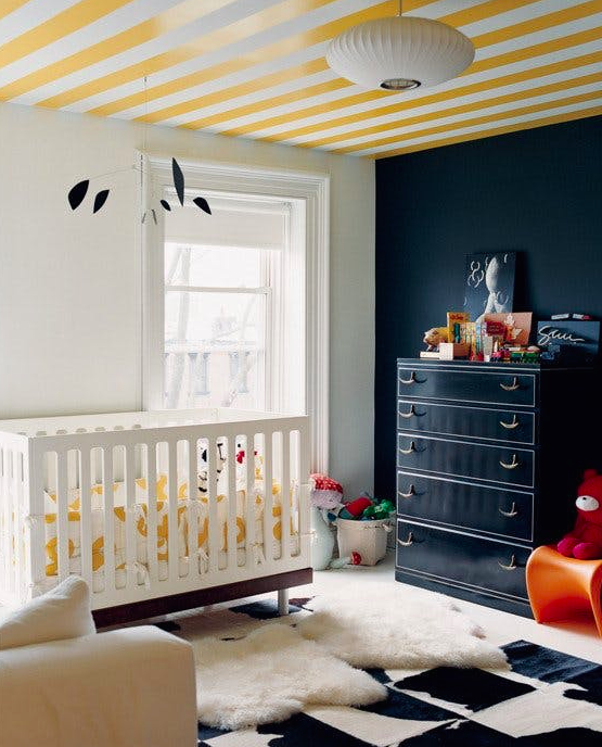 Striped ceiling by Jenna Lyons.