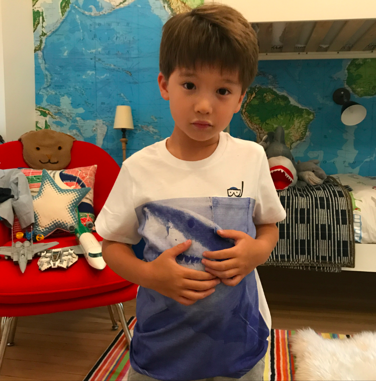 """There is a spot when you fill out the form, """"what else do you want to tell us?"""" And I wrote that Cruzzie loves sharks. And so they sent this shark shirt. Perfection."""