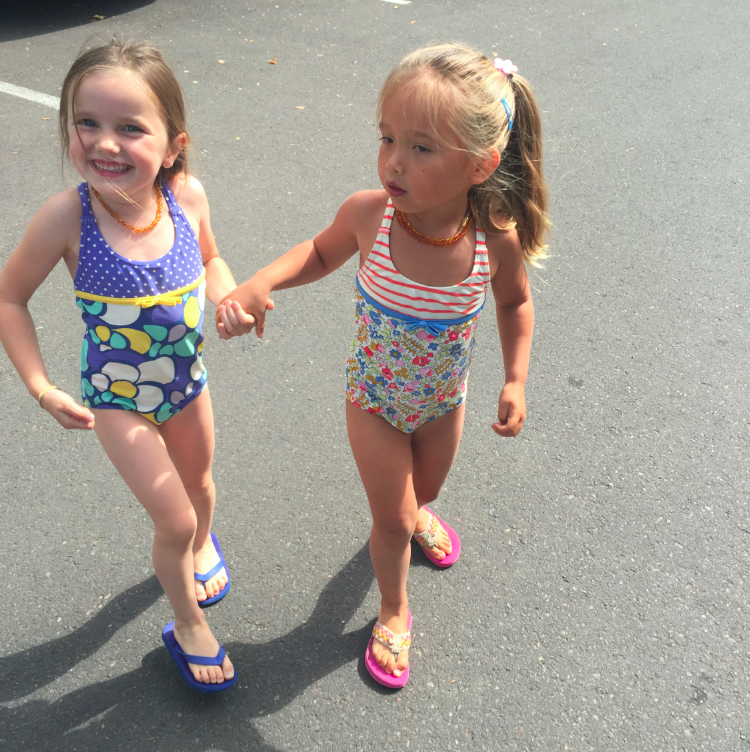 Tusia and her cousin, Nadia, both in Mini Boden swimsuits. Both my sister-in-law and I dress our girls exclusively in these swimsuits.