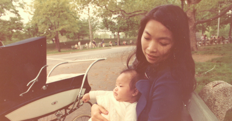 With her son, Ken Natori, at the age of 40.