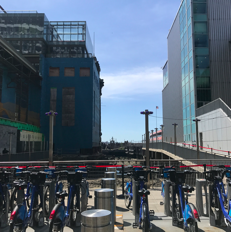 Outside the ferry terminal, there are citibike kiosks.