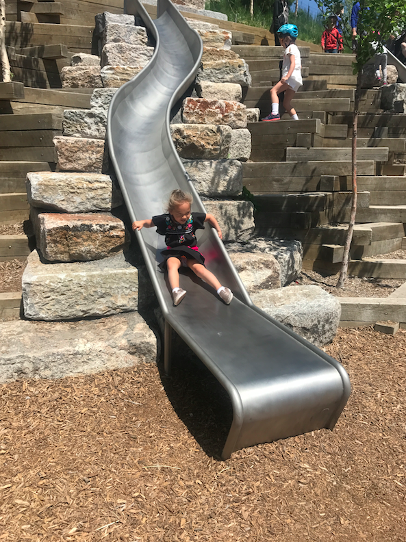 Fun for all ages. The slide park is designed for 5-14 year olds...not necessarily for babies.