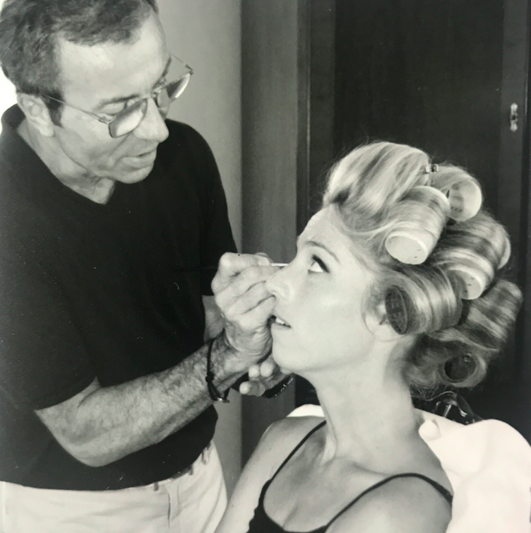 BTS: the first and only time I have ever had curlers in my hair. Here is Oliver Echaudemaison, the creative director of Guerlain (and also a good friend of my mother in law's) who came from Paris to do my make up. Let me tell you, my make up has never been so nice as that day.