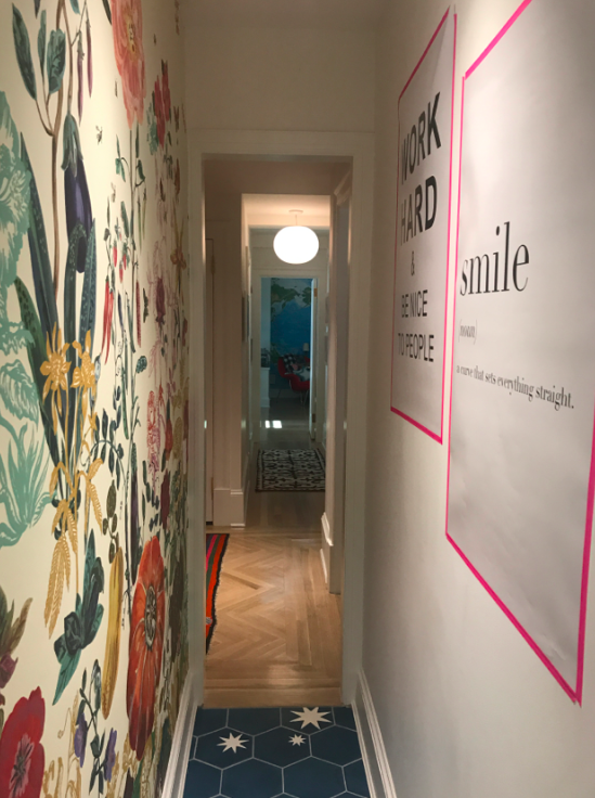 Love the cheerfulness and fun aspect of this hallway.