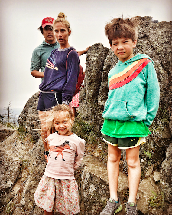 The Natori family on the top of the butte