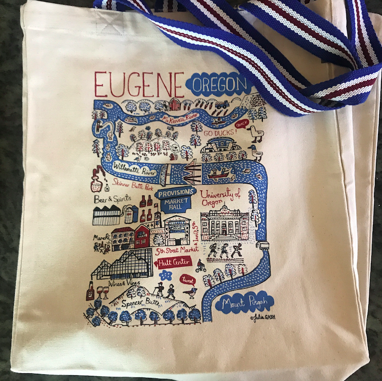 A Eugene little tote bag, stuffed with all small goodies.