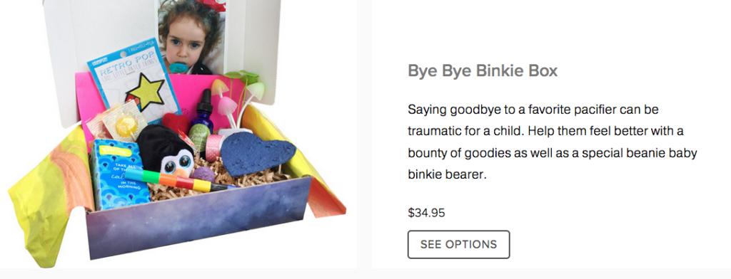 Bye Bye Binkie box contents.