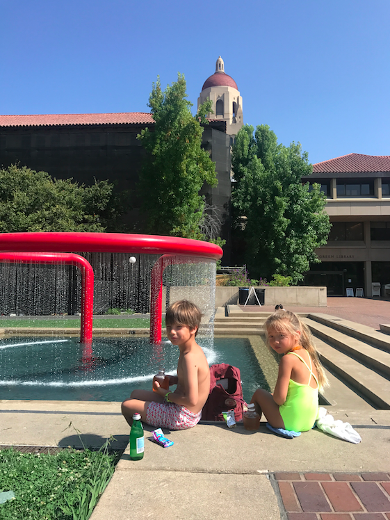 Check out Hoover Tower in the background. And the red hoop fountain -- too cool.